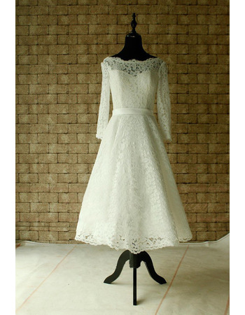 Affordable V-back Knee Length Lace Wedding Dresses with Long Illusion Sleeves