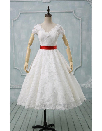 Affordable Double V-neck Knee Length Lace Wedding Dresses with Cap Sleeves