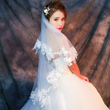 2 Layers 150cm Tulle with Embroidery Wedding Veils