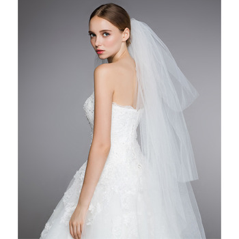 4 Layers Fingertip-Length Tulle Wedding Veils