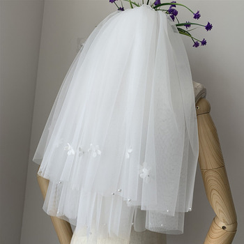 2 Layers Elbow-Length Tulle with Applique Wedding Veils
