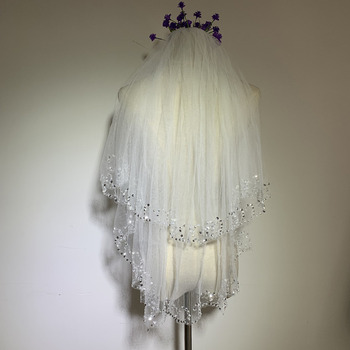 2 Layers Fingertip-Length Tulle with Sequin Wedding Veils