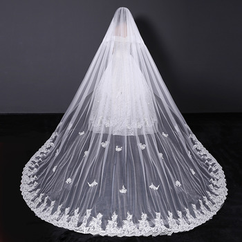 1 Layer Cathedral-Length Tulle with Embroidery Wedding Veils