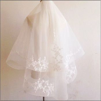 2 Layers Elbow-Length Tulle with Embroidery Wedding Veils