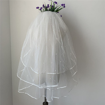 3 Layers Elbow-Length Tulle with Pearl Wedding Veils