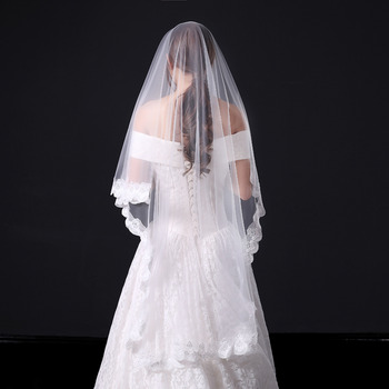 1 Layer Floor-Length Tulle with Lace Wedding Veils