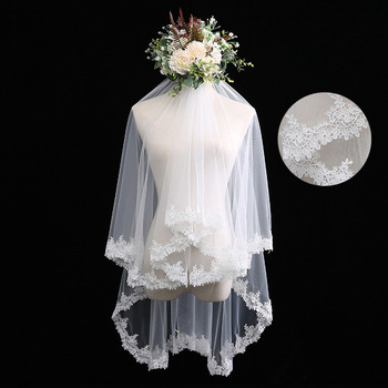 2 Layers Fingertip-Length Tulle with Lace Wedding Veils