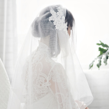 2 Layers Elbow-Length Tulle with Appliques Wedding Veils