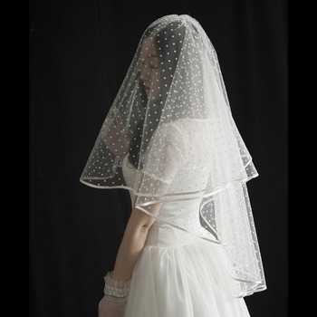 2 Layers Elbow-Length Tulle with Dot Wedding Veils