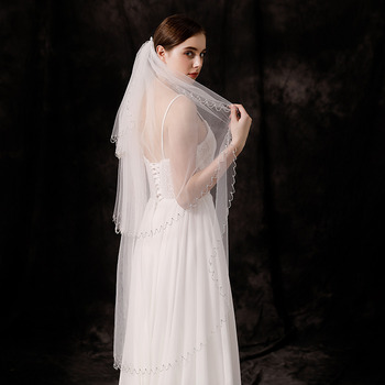 3 Layers Fingertip-Length Tulle with Beading Wedding Veils