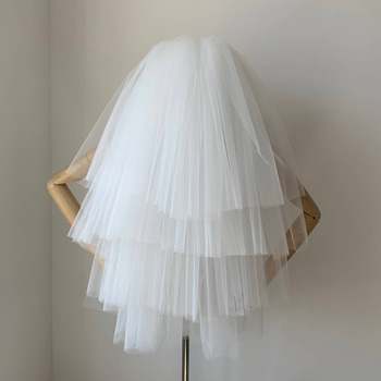 4 Layers Elbow-Length Tulle White Wedding Veils