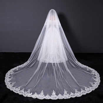 1 Layer Cathedral-Length Tulle with Lace Appliques Wedding Veils