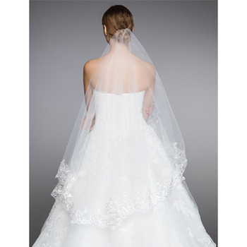 2 Layers Floor-Length Tulle with Lace Appliques Wedding Veils