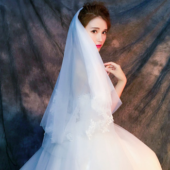 2 Layers Fingertip-Length Tulle with Lace Appliques White Wedding Veils