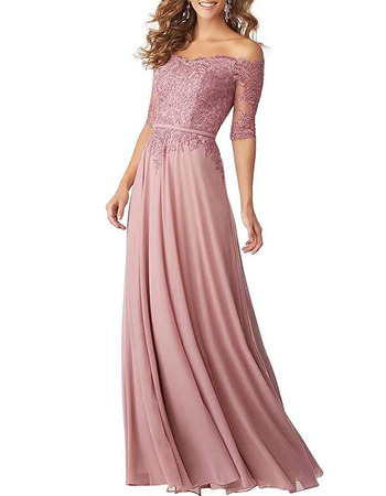 Beautiful Off-the-shoulder Long Length Lace Appliques Bodice Bridesmaid Dresses with Half Sleeveless