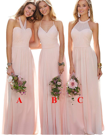 Discount A-Line Halter Full Length Chiffon Pleated Bridesmaid Dresses with Strappy Back