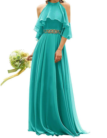 Fashionable A-Line Exposed-Shoulder Full Length Chiffon Bridesmaid Dresses with Rhinestone Waist
