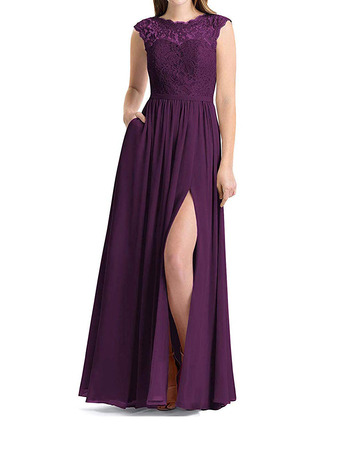 Modern Side Slit Full Length Lace Bodice Bridesmaid Dress with Pockets