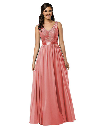 Sexy Deep V-back Full Length Lace Bodice Bridesmaid Dress with Belt