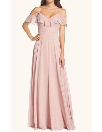 Inexpensive A-Line Spaghetti Straps Cold Shoulder Long Length Chiffon Bridesmaid Dresses
