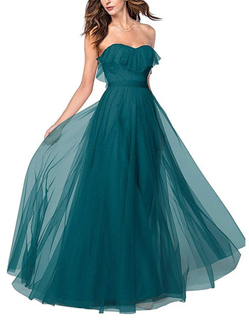 Discount A-Line Ruffled Sweetheart Long Length Tulle Bridesmaid Dresses