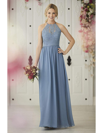 Sexy Fashionable A-Line Halter Long Length Lace Bodice Bridesmaid Dresses with Dramatic Open Back