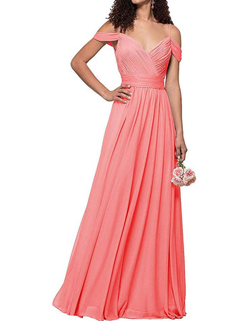 Discount Sexy Exposed-Shoulder Full Length Pleated Chiffon Bridesmaid Dresses