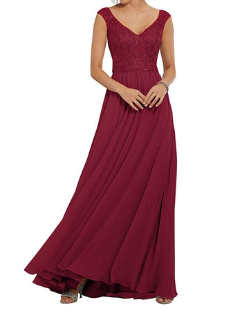 Fashionable A-Line V-Neck Full Length Chiffon Bridesmaid Dresses with Beading Appliques