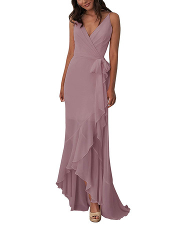Discount V-Neck Spaghetti Straps High-Low Chiffon Bridesmaid Dresses with Front Cascade
