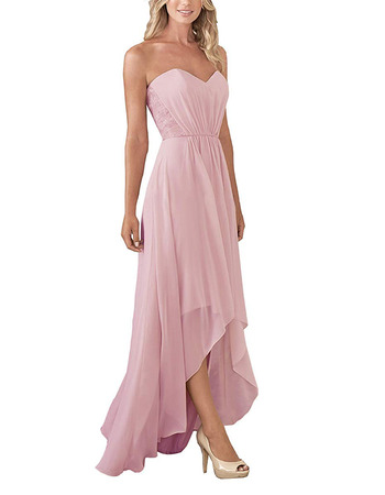 Chic A-Line Sweetheart High-Low Pleated Chiffon Bridesmaid Dresses with Lace Bodice