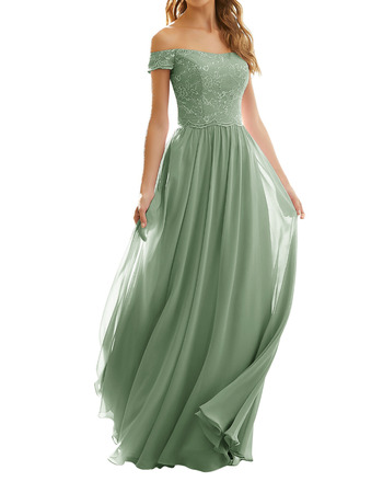 Elegant Off-the-shoulder Pleated Chiffon Bridesmaid Dresses with Lace Bodice