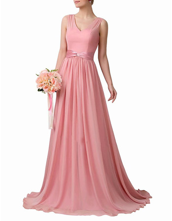 Perfect Simple V-Neck Floor Length Chiffon Bridesmaid Dresses with Pleated Skirt