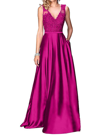 Elegance A-Line V-Neck Satin Bridesmaid Dresses with Appliques and Pockets
