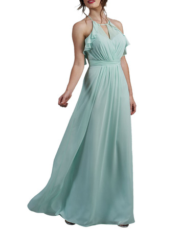 Sexy Halter Neck V-cut Full Length Chiffon Low Back Bridesmaid Dresses with Ruffled