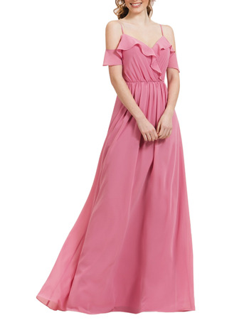 Ethereal Ruffled Exposed-Shoulder Flowing Chiffon Maxi Dresses for Bridesmaid