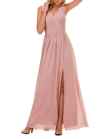 Elegance Spaghetti Straps Full Length Chiffon Bridesmaid Dresses with Trim Capelet