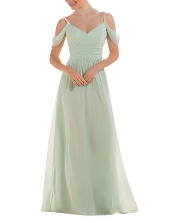 Elegance Exposed-Shoulder Ruched Bodice Full Length Chiffon Bridesmaid Dresses