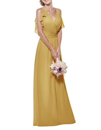 Flattering V-neck Spaghetti Straps Full Length Chiffon Bridesmaid Dresses with Ruffled Detail