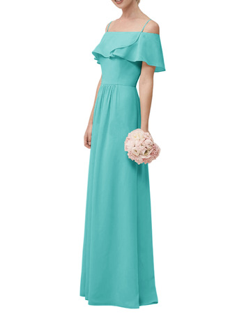 Perfect Spaghetti Straps Full Length Chiffon Bridesmaid Dresses with Trim Capelet