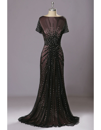 Shimmering All Over Beading Balck Chiffon Evening Dresses with Short Sleeves and V-back