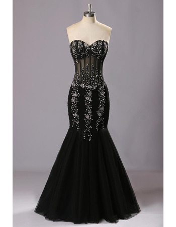 Shimmering Beaded Sweetheart Mermaid Balck Tulle Evening Dresses with Sexy Illusion Waist