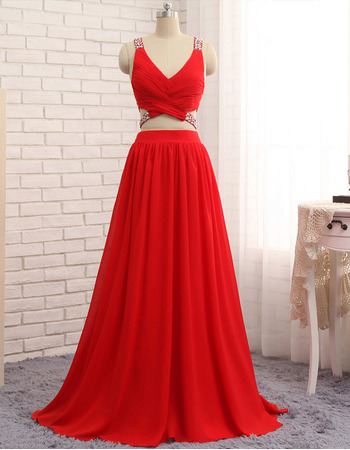 Sexy Two-Piece Pleated Chiffon Evening Dresses with Beaded Bodice and Cross-Back