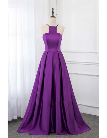 Simple and Chic Spaghetti Straps Satin Evening Dresses with Pleated Skirt
