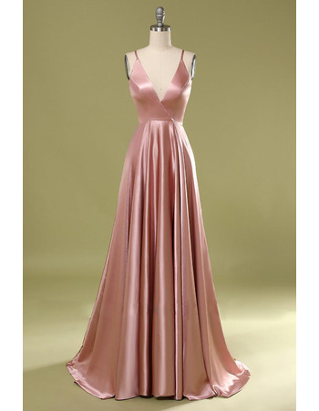 Simple and Sexy Deep V-neckline Satin Evening Dresses with Strappy Open Back