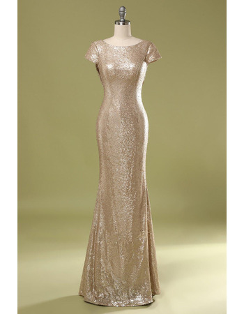 Sparkle & Shine Cap Sleeves Sequins Evening Dresses with Cowl Back