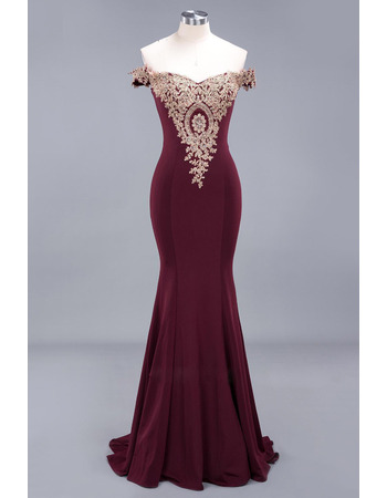 Dramatic Mermaid Off-The-Shoulder Satin Evening Dresses with Beaded Floral Appliques