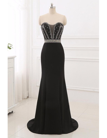 Dramatic Strapless Satin Evening Dresses with Shimmering Beaded Rhinestone Bodice