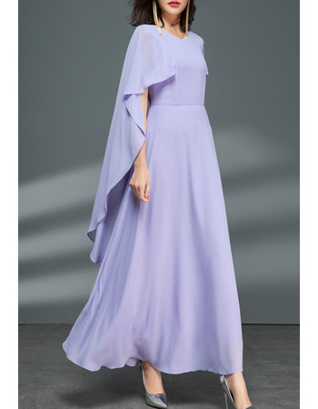 Elegance Ankle-length Chiffon Evening Dresses with Long Cut Out Sleeves