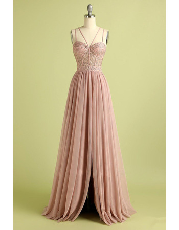Sexy Spaghetti Straps Tulle Evening Dresses with Beading Appliques and Banded Detail