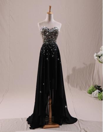Sparkle & Shine Beaded Rhinestone Sweetheart Chiffon Evening Dresses with High Low Asymmetrical Hem